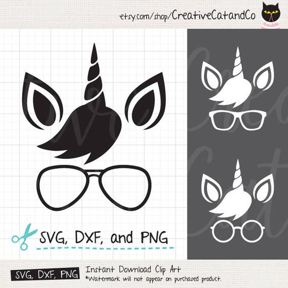 Cute Unicorn Face SVG DXF Nerdy Unicorn Wearing Glasses Eyeglasses Nerd  Unicorn Face Silhouette Simple Male Unicorn Face SVG files Cricut