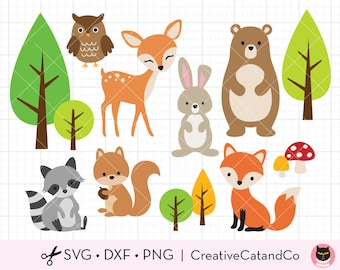Woodland Animals SVG DXF Clipart, Forest Animals, Bear, Deer, Raccoon, Rabbit, Fox, svg dxf Cut Files for Cricut and Silhouette Clip Art