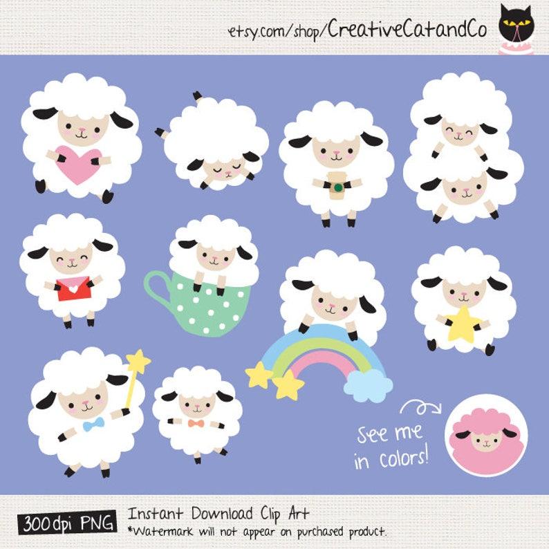 Sheep Clipart White Sheep Clip Art Cute Sheep Clipart Cute Digital Sticker  Lamb Sheep Planner Sticker Clipart Sheep planner Sticker Digital