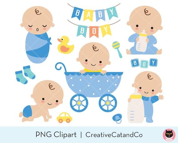 Baby Boy Shower Clipart Clip Art Cute Baby Boy Birthday In Etsy
