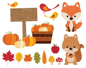 Fall Clipart Autumn Clipart Harvest Pumpkin Clipart Autumn Leaves Clipart Fall Leaves Clipart Fox Squirrel Animal Clip Art Fall Elements