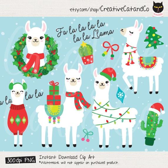 Christmas Llama.Christmas Holiday Llama Clipart Clip Art Fa La La Llama Alpaca Christmas Gift Llama Wearing Santa Hat Cactus Christmas Sweater Clipart