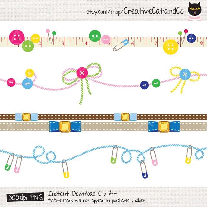 Nähen Clipart Clip Art Craft Grenze Rahmen Clipart Zierborte   Etsy
