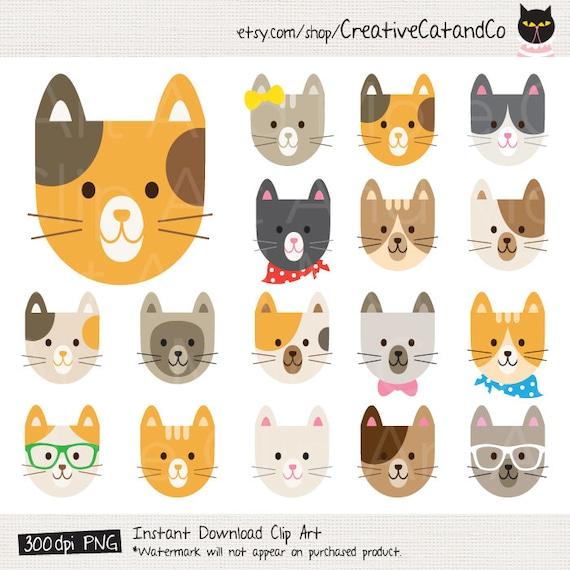 Cat Clipart Cat Clip Art Cute Cat Clipart Cat Face Clipart ...