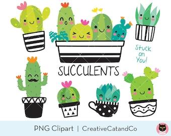 Succulent Clipart Cute Cactus Clipart Cacti Clip Art Cute Succulent with Face Plant Clipart Desert Summer Plant Clipart Graphic
