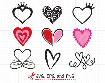 Heart SVG Heart Frame svg Files for Cricut or Silhouette Love SVG Valentine Heart svg monogram frame svg Cut File EPS File Clipart Clip Art