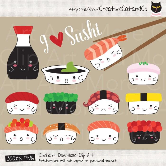 Sushi Clipart Sushi Clip Art Cute Japanese Sushi Food ...