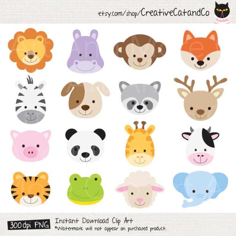 Animal Face Clipart Animal Head Clipart Cute Animal Clipart Etsy