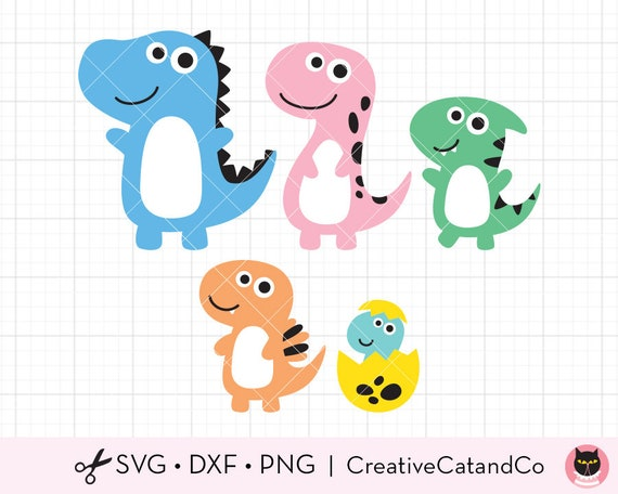 Dinosaur Family Svg Dxf Files For Cricut Cute Dino Cut File Etsy
