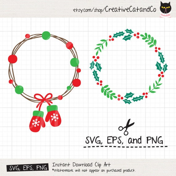Christmas Wreath SVG Holly Berry Wreath Frame Holiday   Etsy