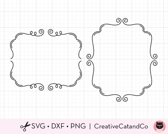 Flourish Frame Svg Dxf File For Cricut And Silhouette Swirl Etsy