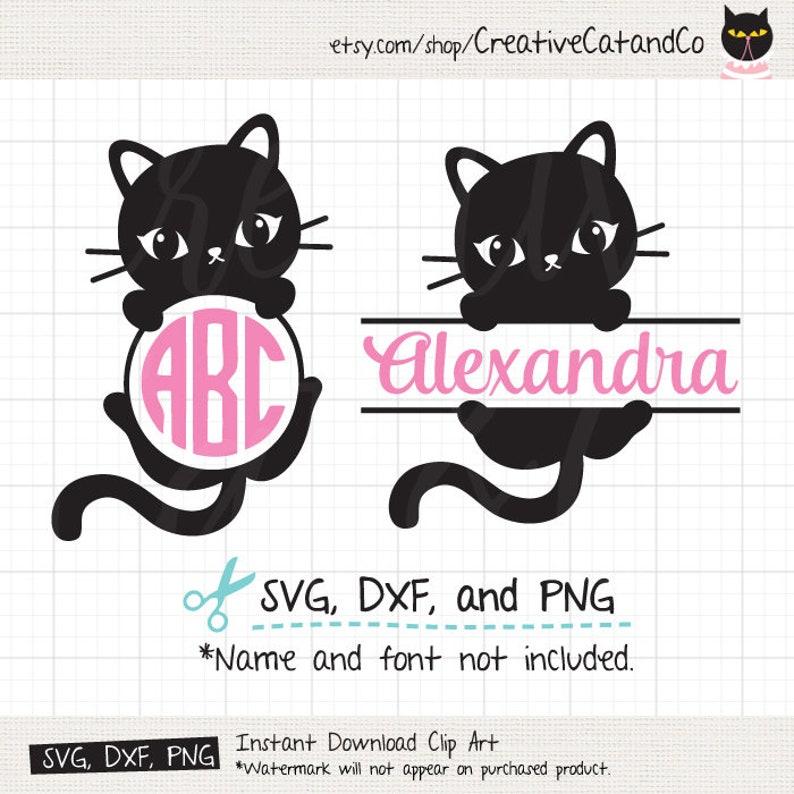 Download Cat Monogram SVG Cat Monogram Frame Files Cute Simple ...