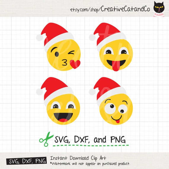 Christmas Emoji.Santa Christmas Emoji Svg Dxf Clipart Face Expressions Cartoon Wearing Santa Hat Icon Svg Dxf Cut File Clip Art