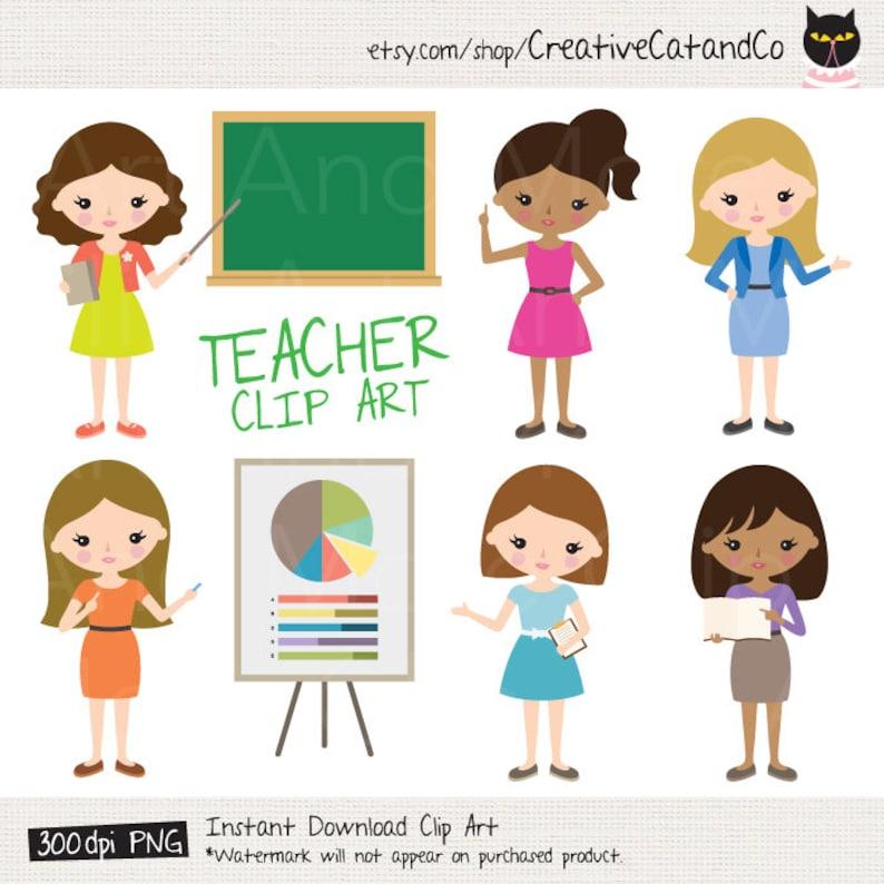 Teacher Clipart Female Teacher Clip Art Instructor Clipart Etsy