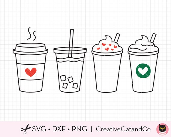 Coffee Svg Cute Iced Coffee To Go Line Art Svg Dxf Cut Files Etsy