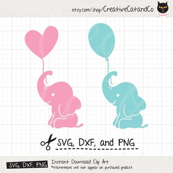Baby Elefant Silhouette SVG DXF Elefant hält Ballon Svg Dxf   Etsy