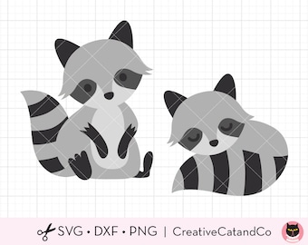 Raccoon SVG DXF Files for Cricut and Silhouette, Cute Raccoon Clipart, Sleeping Raccoon Cut File Clip Art, Commercial Use
