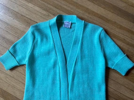Vintage 70s Mint Green Short Sleeved Cardigan / V… - image 5