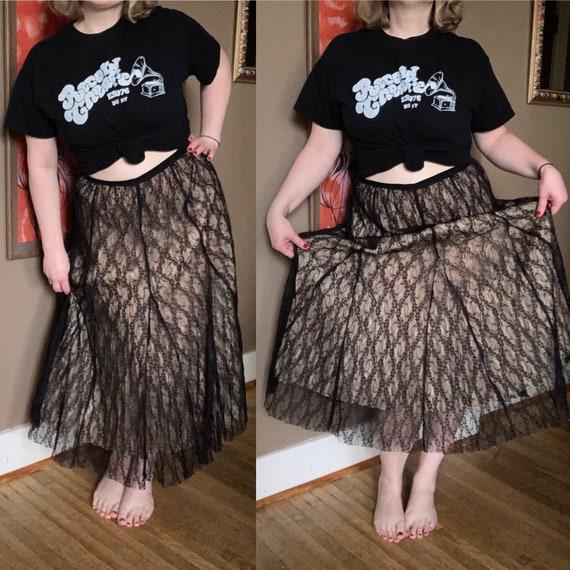 Vintage 90s Cream & Black Lace Laura Ashley Skirt… - image 1