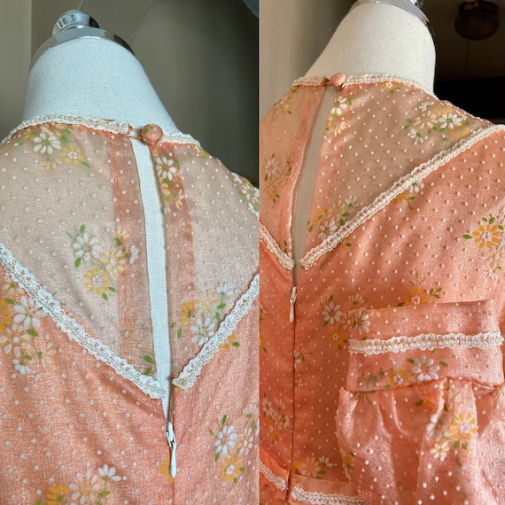 Vintage 60s Dreamy Floral Peach Formal Maxi Dress… - image 6