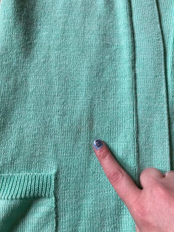 Vintage 70s Mint Green Short Sleeved Cardigan / V… - image 7