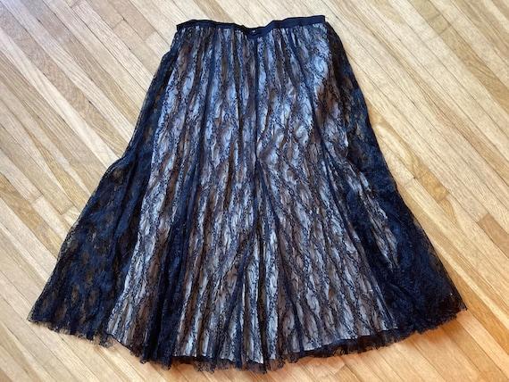 Vintage 90s Cream & Black Lace Laura Ashley Skirt… - image 9