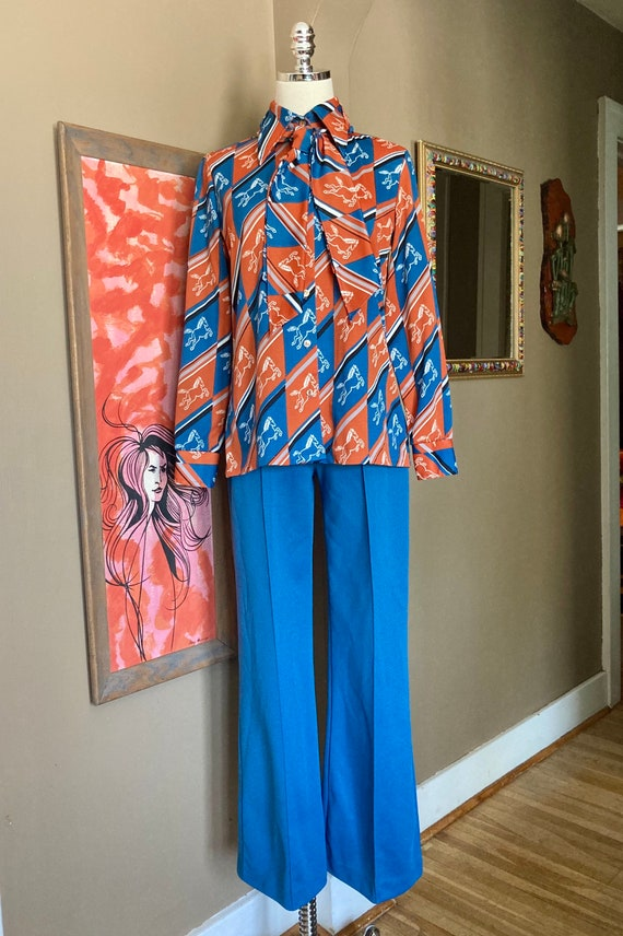 Vintage 70s Novelty Print Horse Two Piece Ladies … - image 8