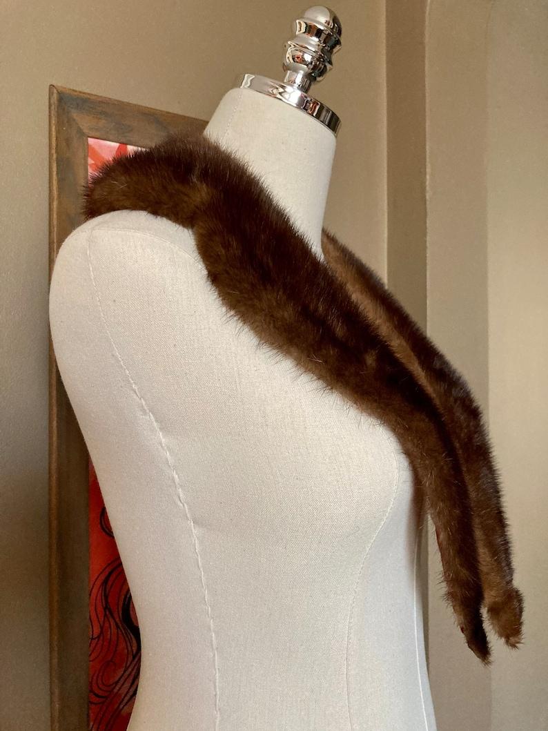Mid Century Real Mink Fur Collar  Mid Century Fur Collar  Vintage Real Mink Fur Collar  Brown Mink Fur Collar