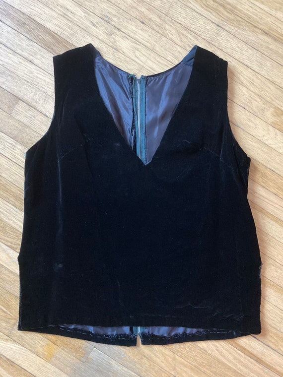 Vintage 60s Black Velvet Vest / Vintage 60s Black