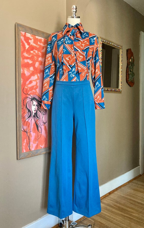 Vintage 70s Novelty Print Horse Two Piece Ladies … - image 2