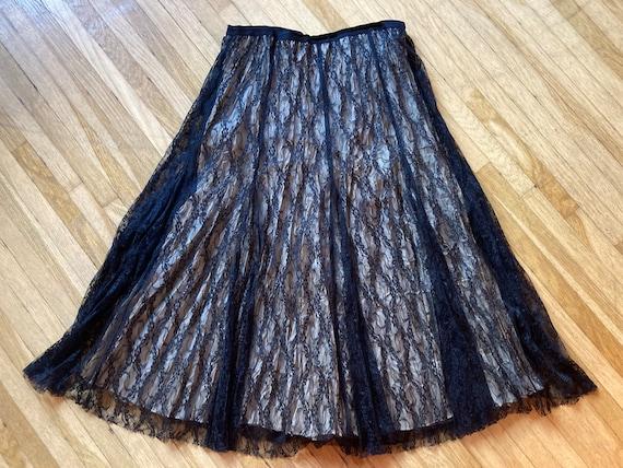 Vintage 90s Cream & Black Lace Laura Ashley Skirt… - image 7