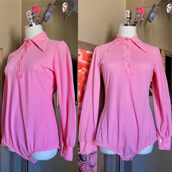 DEADSTOCK Vintage 70s Pink Polka Dot Bodysuit / 70