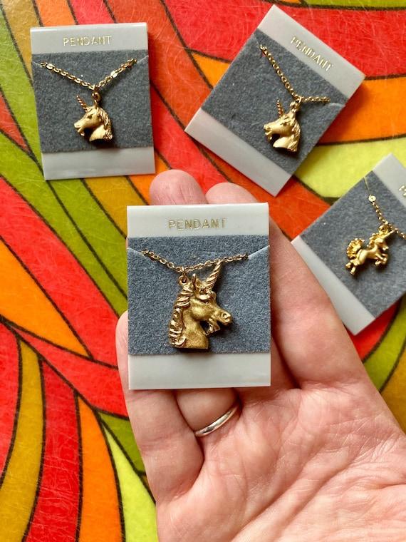 ONE Vintage NOS Gold Unicorn Necklace / Vintage Un