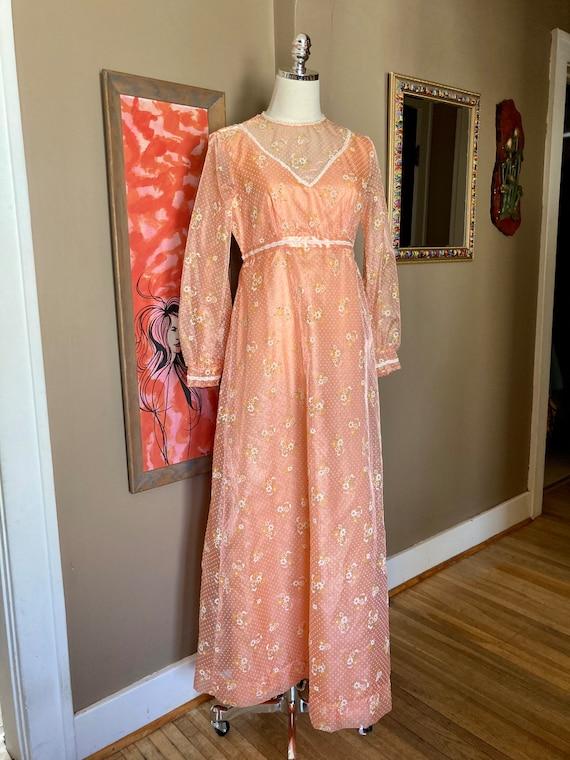 Vintage 60s Dreamy Floral Peach Formal Maxi Dress… - image 9