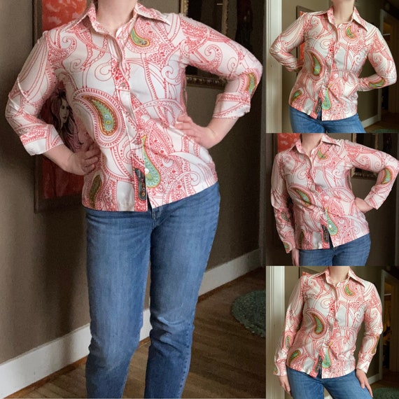 XL 1970s Mens Floral Hippie Shirt Light Pink Short Sleeve Button Front Flower Print Bohemian 70s Vintage Button Down