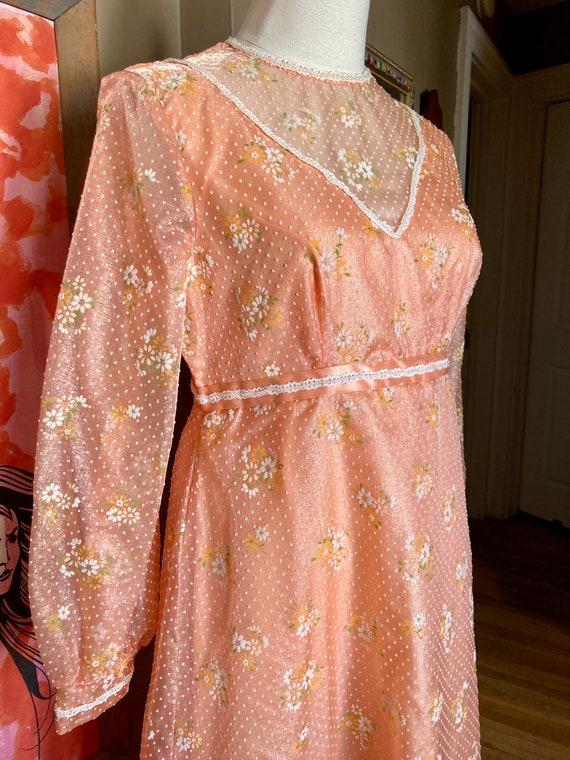 Vintage 60s Dreamy Floral Peach Formal Maxi Dress… - image 2