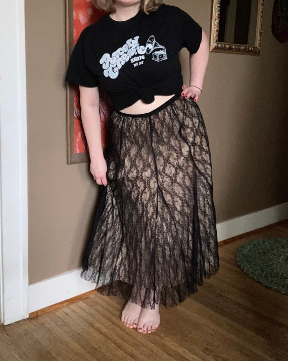 Vintage 90s Cream & Black Lace Laura Ashley Skirt… - image 2