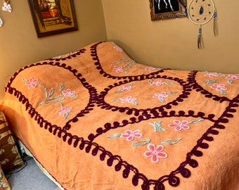 Vintage Orange & Plum Floral Chenille Bedspread / Mid Century Tangerine and Purple Chenille Bedspread