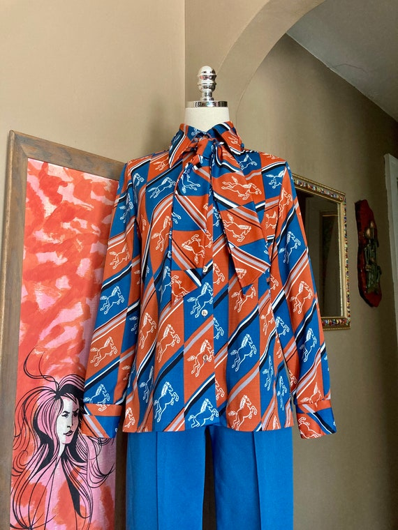 Vintage 70s Novelty Print Horse Two Piece Ladies … - image 9