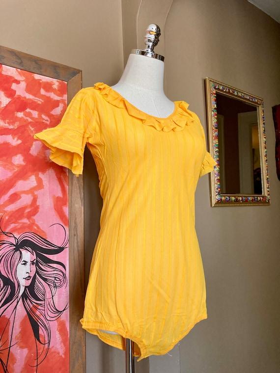 DEADSTOCK Vintage 70s Sheer Striped Bodysuit / 70… - image 4