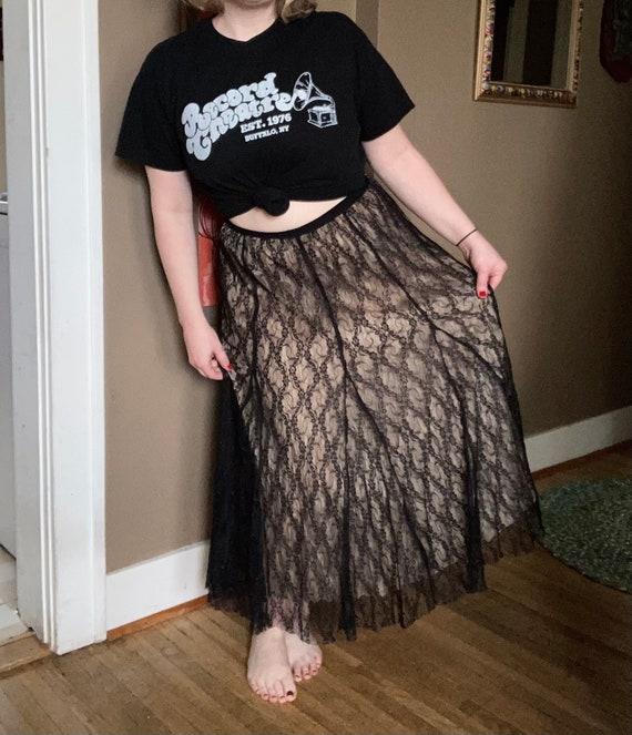 Vintage 90s Cream & Black Lace Laura Ashley Skirt… - image 10