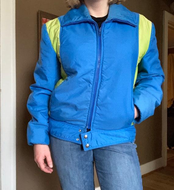 Vintage 70s Blue Ski Jacket / 1970s Blue Green Ski
