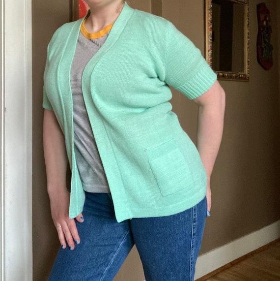 Vintage 70s Mint Green Short Sleeved Cardigan / V… - image 10