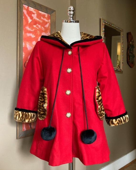 Vintage Red & Faux Tiger Print Coat / Vintage Red