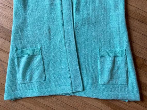 Vintage 70s Mint Green Short Sleeved Cardigan / V… - image 8
