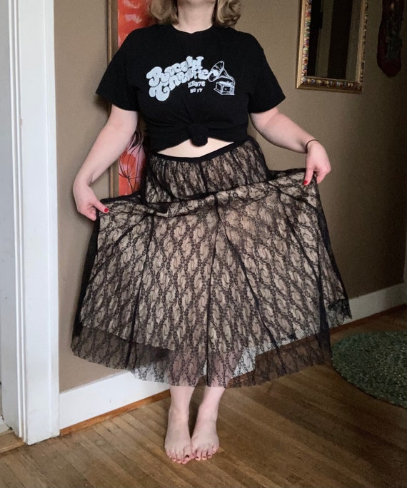 Vintage 90s Cream & Black Lace Laura Ashley Skirt… - image 3