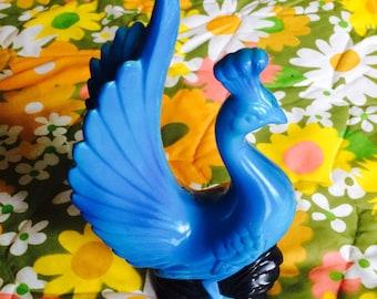Vintage Bird Figurine / 1960s-70s Kitschy Bright Blue Bird / Chalkware Bird Figurine