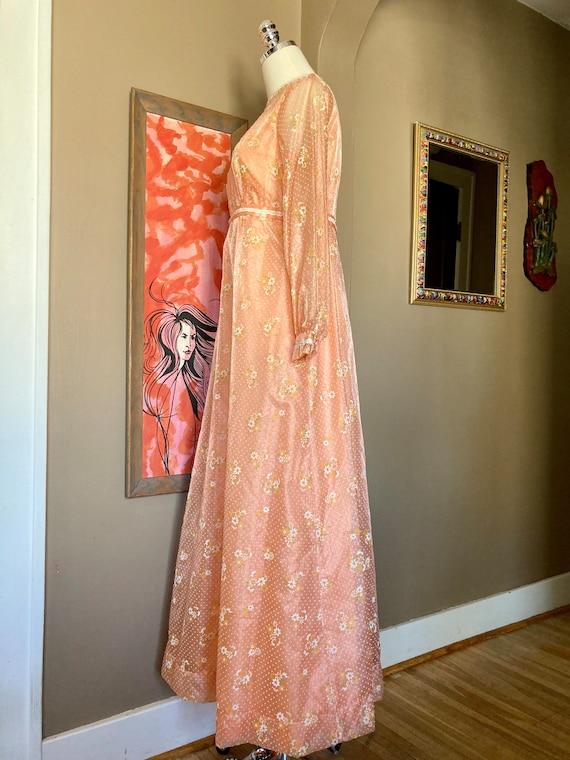 Vintage 60s Dreamy Floral Peach Formal Maxi Dress… - image 3