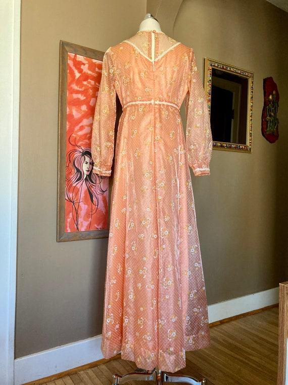 Vintage 60s Dreamy Floral Peach Formal Maxi Dress… - image 4