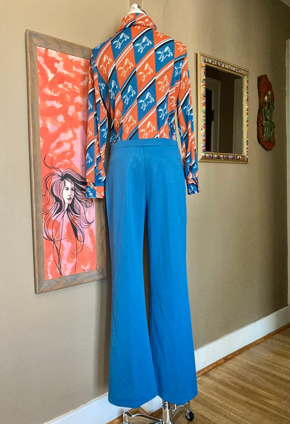 Vintage 70s Novelty Print Horse Two Piece Ladies … - image 5